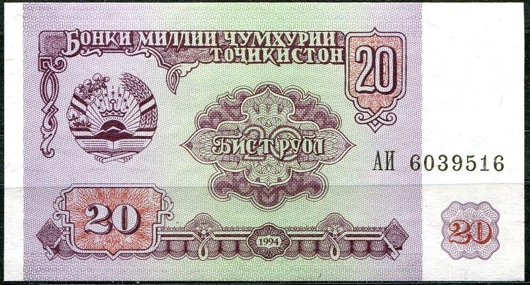 Tadžikostán - bankovky