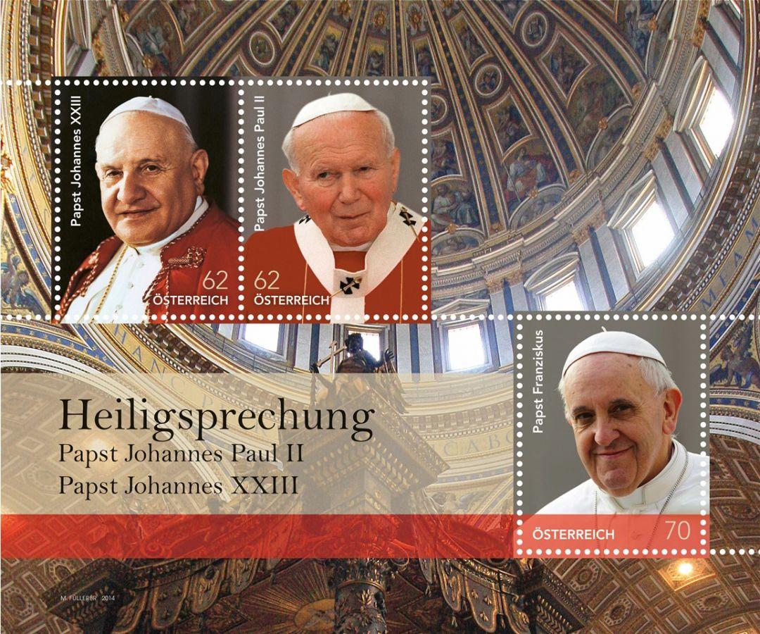 MiNr. 3138 - 3140 ** - Rakousko - BLOCK 79 - Svatořečení papežů