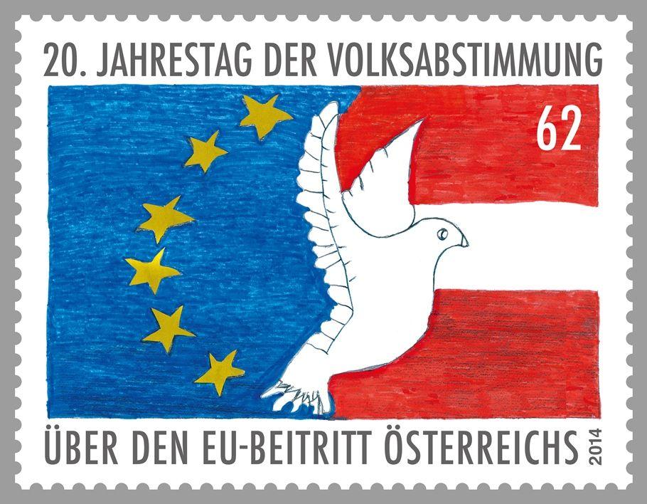(2014) MiNr. 3145 ** - Rakousko - 20. výročí referenda přistoupení k EU