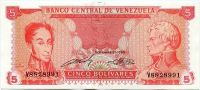 Venezuela (P 70a) - 5 bolivares (1989) - UNC