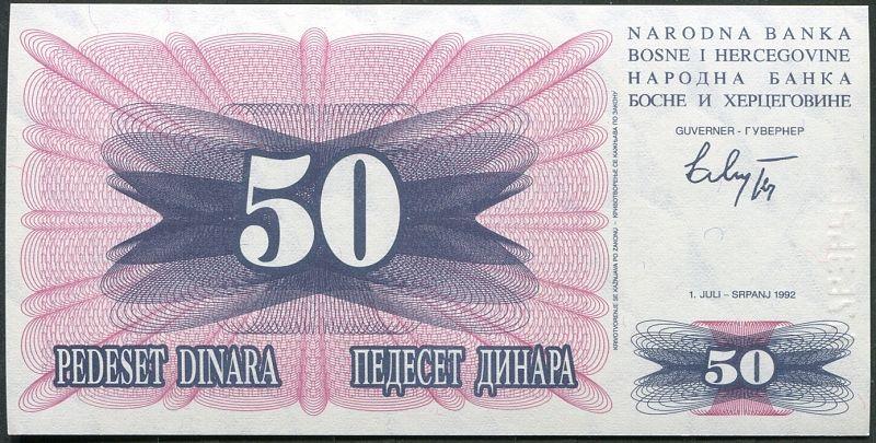 Bosna a Hercegovina - (P12) 50 DINARA (1992) - UNC