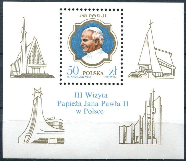 (1987) MiNr. 3101 ** - Polsko - BLOCK 103 - Návštěva Jana Pavla II. v Polsku
