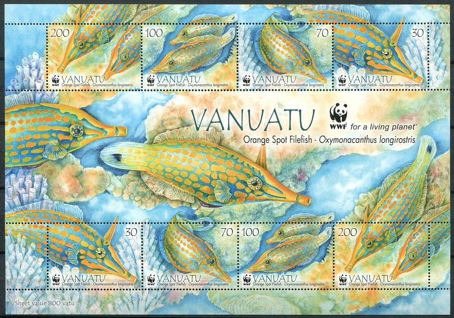 (2013) MiNr. 1496 - 1499 ** - Vanuatu - Orange Spotted Filefish