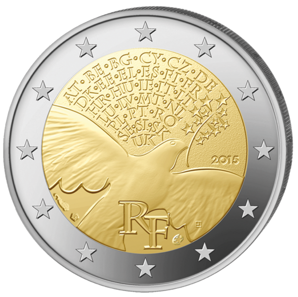(2015) 2€ - Francie - Mír v Evropě (UNC)