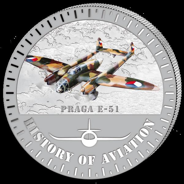 (2015) 5000F - Burundi - stříbrná - letadlo Praga E-51 (proof)
