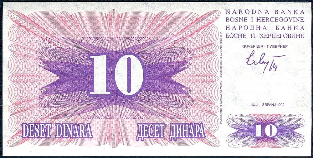 Bosna a Hercegovina - (P10) 10 DINARA (1992) - UNC