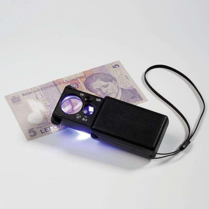 Lupa 10x a 30x s LED diodou a UV lampou
